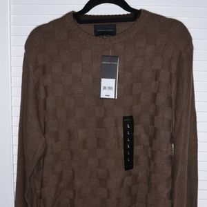 MENS GEOFFREY BEENE CREW NECK SWEATER DARK TAUPE